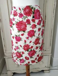 LK BENNETT Skirt Sz 10 Silk Linen Floral Rose Pink White Pencil Smart Occasion