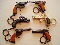 "6 KEY CHAINS 2.5"" MINIATURE TOY CAP GUN DIE CAST. COLLECTIBLES"