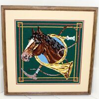Thoroughbred Horse Finished Needlepoint Matted Framed Art Horse Hunting Horn