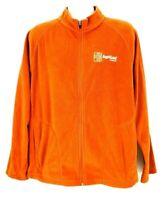 AgriGold Soybeans Mens Size L Large Long Sleeve Full Zip Orange Fleece Jacket