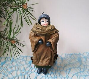 Spun Cotton Ornament Doll. A girl in the coat. Handmade Christmas Tree Toy
