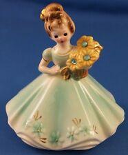 """Vintage Josef Originals Birthday Girl Birthstone Figurine March Aquamarine 4"""""""