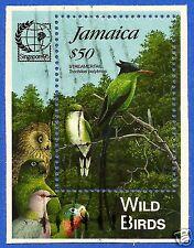 JAMAICA, WILD BIRDS, STREAMERTAIL, SINGAPORE 95, SC # 831, VERY NICE MINI SHEET