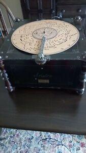 Phonographe organette Ariston bois peint noir année 30