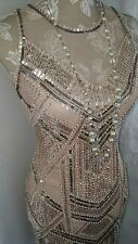 Vtg 1920,s style Downton Gatsby nude pink silver beaded wedding flapper dress 8