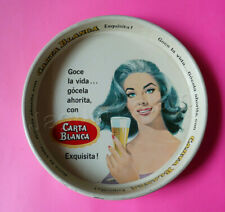 Vintage Mexican CARTA BLANCA Beer Tray Lorena Velazquez Vedette Pin Up 1960s