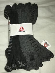 Reebok Mens 5 Pack Size 6-12.5 Performance Training Crew Socks Black & Gray
