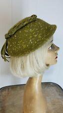 Vintage 50s Olive Green Flecked Hat Garnet Bead Fringe Wool