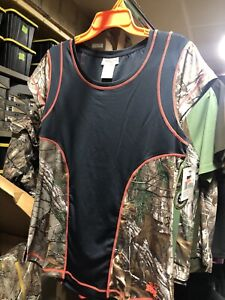 Realtree Girl Black And Camo (Hunting) Quincy Short-sleeved Shirt Size Xl