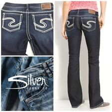 "Silver Jeans Sz 28/31 Frances 18"" Slim Boot Leg Low Rise Dark Wash"
