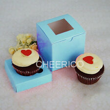 Standard BLUE Cup Cake Box  with BLUE- Hold 1 cupcake - 25 sets in a Pack