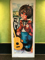 Retro Vintage Big Eyed Girl French Art Print on Board 1960's Wall Hanging Kitsch