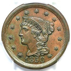 1850 N-9 R-2 PCGS MS 63 BN Braided Hair Large Cent Coin 1c