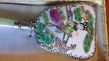 Little Silver Plated Cloisonné Mirror with Geisha Girl & Bird in Orig Box C1900