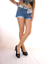 Womens Vtg Retro Distress Jeans Denim Hot Pants Shorts Cut Off Custom sz XS AG21