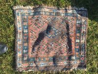 Small Vintage Hand Knotted Prayer Mat. Middle Eastern Rug  46cm By 46cm