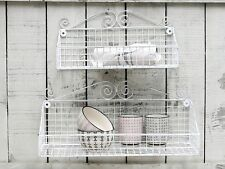 Pair of White Baskets Wall hanging Display Shelf Shabby Vintage Chic Style