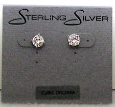 Earrings Pierced Mint butterfly backs Cubic Zirconia sterling silver posts stud