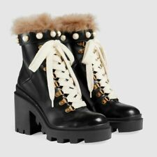 Brand New Gucci Leather ankle boots with fur and Pearls Gucci Size 37 US 7.5