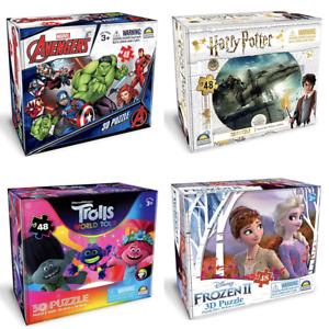 48PCS 3D Jigsaw Puzzle Frozen2 Advengers Harry Potter Trolls Kids Gift