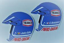 Paris Dakar. - Jacky Ickx. - Claude Brasseur. - 2 autocollants Texaco casque.