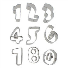 9PCS number graphic pattern Metal Cookie Cutters Classic Shapes cake pastry mold