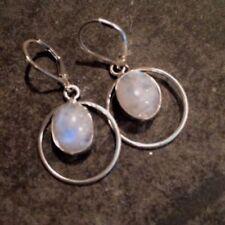 Moonstone Oval Sterling Silver Fine Gemstone Earrings