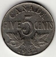 1932 CANADA FIVE 5 CENT NICKEL KING GEORGE V COIN