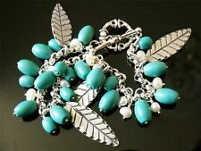 BN 925 STERLING SILVER FEATHER TURQUOISE AND PEARL BRACELET BOXED RP £89.99 #22.