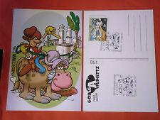 CARTOLINA DA COLLEZIONE 190-con francobollo PRATT E annullo ZAGOR-GODEGA FUMETTI
