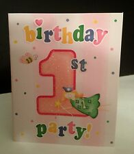 8 Girls First 1st Birthday Party Invitations Cards Baby Party Supplies