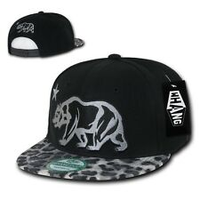 California Republic Black Leopard Print Flat Bill Snapback Snap Back Cap Hat