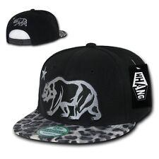 California Republic Black Leopard Print Flat Bill Snapback Snap Back Cap Hat