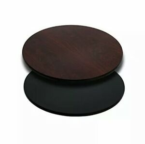 Mahogany Reversible Laminate 24'' Round Table Top with Black or Mahogany Side