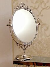 Standing Mirror Silver Brass Make-Up Tilt Antique Swivel H49