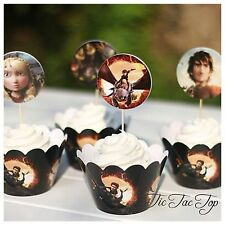 12 How To Train Your Dragon Cupcake Toppers + 12 Wrappers. Party Lolly Loot Bag