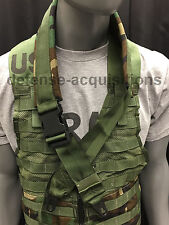 Military Padded Sling Shoulder Strap Woodland Camo HK Clips Blk ITW Buckle USA