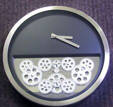 """CONTEMPORARY METAL WALL CLOCK 14"""" DIAMETER BLACK  WITH 12 MOVING GEARS 42830"""
