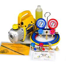 Favorcool 3cfm 14hp Vacuum Pump Ac Manifold Gauge Set Combo For R410a R134a R22