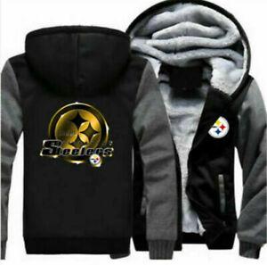 Newest Pittsburgh steelers Hoodie Winter Coat Fleece Unisex Thicken Jacket coat
