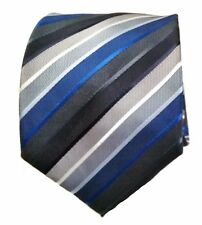 Croft and Barrow Polyester Tie Blue Black and Grey Stripe