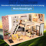 DIY Dollhouse Miniature Furniture Kit Wood Doll House Toy Kid Gift w/Music&Light