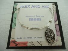 Alex and Ani Because I Love You MOM II Russian Silver Bangle New W/ Tag Card Box
