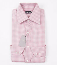 NWT $635 TOM FORD Pink Woven Tonal Check Cotton Dress Shirt 15 Slim-Fit