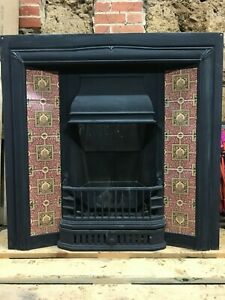 Cast Iron Tiled Insert for Fireplace, solid fuel, with tiles, grate, lit once