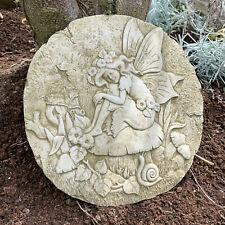 Stone Outdoor Garden Statue Ornament Fairy On Mushroom Wall Hanging Sculpture