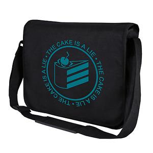 The Cake Is A Lie Portal Geek Gamer Nerd Motif Fun Shoulder Bag Messenger Bag