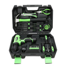 27Pcs Home Repair Hand Tool Set Toolbox Cordless Drill+Bits+Claw Hammer+Charger