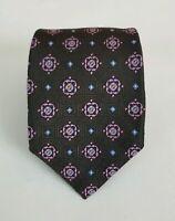 Current Robert Talbott Men's Brown Medallion Silk Necktie Neck Tie 59L 3.5W