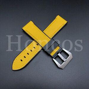 YELLOW Panerai 44mm Luminor Case 24mm FLAT END Vulcanized Rubber Watch Strap